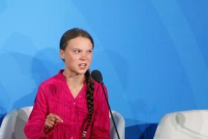 En mycket upprörd Greta Thunberg. Foto: TT.