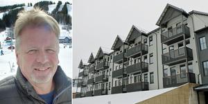 Jonas Lundblad berättar om det nya hotellet som är hopbyggt med hotellet som stod klart för några år sedan. Bild: Jenny Lundberg/Roger Wallenius
