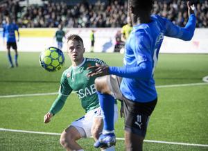 Benjamin Hjertstrand i segermatchen mot Halmstad, tidigare under säsongen.