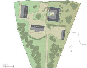 Situationsplanen visar det nya U-formade bostadshusets placering uppe till höger. Karta: PE Teknik & Arkitektur/Tom Sakofall