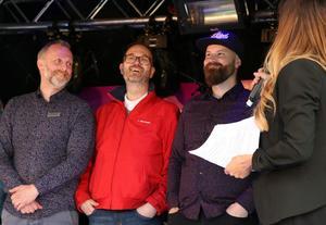 Daniel Karlsson, Kim Hänninen och Daniel Lilja fick ta emot priset som Årets startup för sin satsning på Söderins senap.