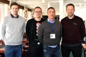 Arrangörerna bakom Industrinatten, från vänster ser man: Johan Sonne, Marcus Haglöf, Peo Sjöberg och Stefan Sjöberg.