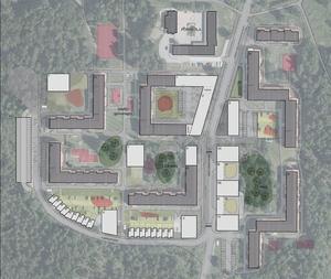 Karta över Västra Blombacka. De grå husen är befintliga byggnader. De vita husen är förslag på nya byggnader och nere i vänstra hörnet ses de föreslagna radhusen. De röda fläckarna är förslag på nya lekplatser. Strax utanför bildens nederkant ligger Trossens förskola. Skiss: Rikshem/Alton Öhman Arkitekter