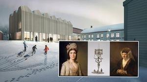 Montage: pressbild ritning Nationalmuseum/Utställning  Sex sekler av samtid /Nationalmuseum