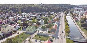 Så här ser skissen ut i detaljplanen över det framtida Öster i Söderhamn. (Foto: Niklas Lundqvist, Söderhamns kommun. Illustration: 2BK Arkitekter)