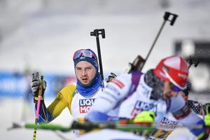 Jesper Nelin  under sin distans. Foto: Anders Wiklund/TT.