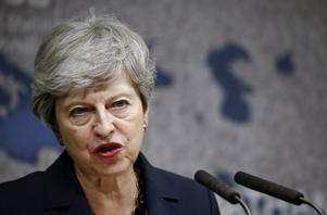 Theresa May, Storbritanniens premiärminister fram till 24 juli 2019. Foto: Henry Nicholls / Pool via AP.