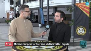 Brynäs nye klubbchef Michael Campese intervjuas av Mittmedias Magnus Hägerborn.