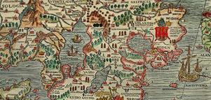 Ett utsnitt över Västmanland och närliggande landskap ur Olaus Magnus Carta Marina från 1539.