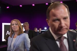 Annie Lööf (C) och Stefan Löfven (S) efter partiledardebatt i SVT. Foto Henrik Montgomery / TT
