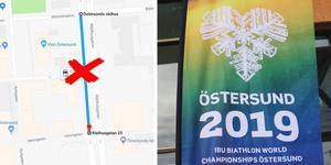 Skidskytte-VM i Östersund går av stapeln från 7 till 17 mars. Det väntas feststämning i stan med mycket besökare och god stämning. Foto: Anna-Stina Ericson och Skärmdump Google Maps.