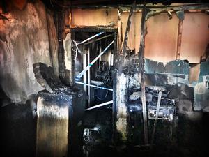 Det brandskadade kontoret.