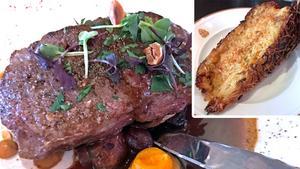 Att uppgradera kötträtten med lokalt kött kostar en slant, och kan enligt servitören ibland innebära entrecote, ibland som här en rejäl ryggbiff.