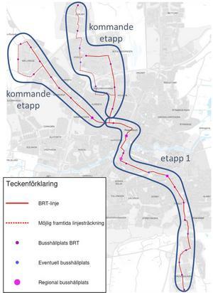 Så här ska superbussarna trafikera Örebro i framtiden. Etapp 1 mellan Brickebacken och Tegnérlunden byggs först och ska vara i drift 2025. För de andra etapperna finns ingen tidsplan.