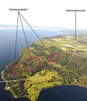 Här är de tre områden som pekas ut som framtida bostadsområden på Rödön.