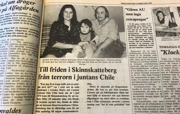 Så här såg det ut i Fagersta-Posten, den 6 februari 1976, när familjen Cabezas hade blivit intervjuade första gången.
