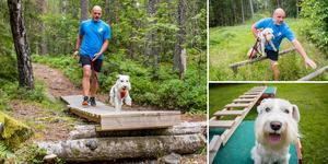 Anders Nilsson springer i skogen tillsammans med en av sina fyra hundar. Dante är den enda av dem som delar hans intresse för löpning. Att hoppa, klättra och leka tillsammans gör både Dante och Anders glada.