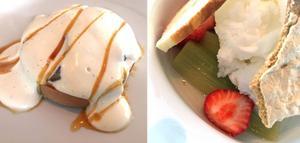 Nötkräm, päron och skummig vaniljkräm till vänster. Citronsorbeten är läskande frisk, men vi förstår inte den rostade briochens roll på tallriken. Och efterlyser spänstigare rabarber.