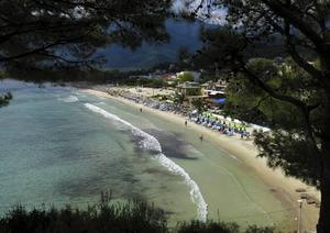 Vy över en del av den tre kilometer långa Golden beach – en av Thassos allra mest populära stränder.   Foto: Johan Öberg