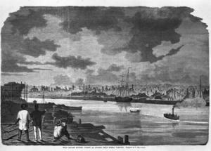 I en teckning av C Hellqvist illustreras stadens förödelse från Södra varvet.