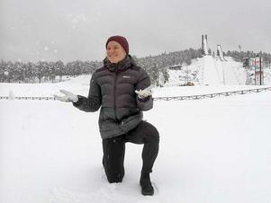 Hanna Falk på Lugnet. Här hittade hon tillbaka till skidglädjen efter besvikelsen över stafettpetningen i Korea. Och här tävlar hon i världscupen i helgen.