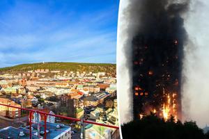 För att undvika en brand likt den i Grenfell Tower i London krävs ett inventeringsarbete av höga byggnader i hela landet, skriver företrädare för Brandskyddsföreningen. Bild: Sanna Berglund / Matt Dunham/AP/TT