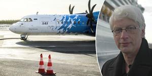 Tre flygbolag, bland dem Air Leap, har meddelat att man tänker börja trafikera Örnsköldsvik när flygbolaget SAS slutar med sin trafik i februari nästa år. Flygexperten Jan Ohlsson tror dock inte att alla de tre bolagen faktiskt kommer att börja flyga på Örnsköldsvik.  Foto: Robbin Norgren och TT