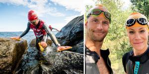 Anders Södergren och Helena Dalivin i nybildad duo i swimruntävlingen Ötillö i september.  Foto: Jakob Edholm ÖTILLÖ/Privat