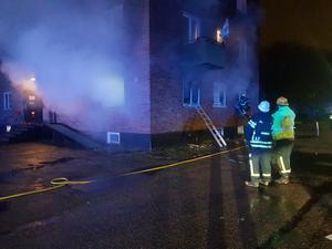 Brand på Mejerigatan i Krylbo. Foto: Torbjörn Wahlin