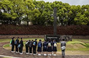 Minnesplats över atombombens offer i Nagasaki.   Johan Öberg/TT