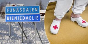 Vårdpersonal på Funäsdalens hälsocentral är skeptiska till de nya digitala vårdlösningarna. Bilden är ett montage av genrebilder, personen som syns har inget med artikeln i övrigt att göra. Foto: Håkan Persson/Tomas Oneborg/TT