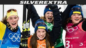 Linn Persson, Hanna Öberg, Mona Brorsson och Anna Magnusson blev svenska silverhjältar i torsdagens stafett. Bild: Jon Olav Nesvold/Bildbyrån.
