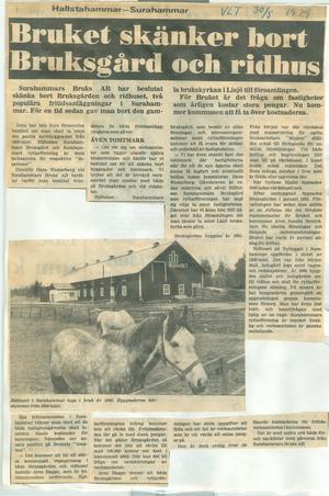 1979 skänker Sura bruk ridhuset och marken till föreningen...