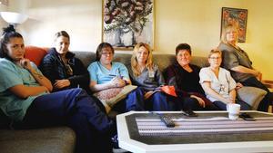 Evelina Westner, Ida Näsström, Sanna Bergström-Sonneberg, Veronica Säfström, Lena Ström, Laila Berggren och Nina Hiltunen är upprörda och oroliga över sin arbetssituation.