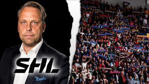 Jörgen Lindgren är inte den populäraste mannen i hockeysupportrarnas ögon. Bild: Bildbyrån/montage