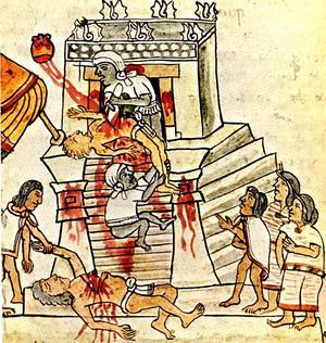 Illustration av människooffer i Aztekriket från 1500-talet, före spanjorernas erövring.