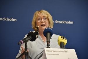 Irene Svenonius vid en pressträff i juni.