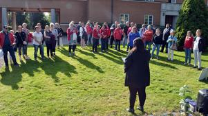 Personer från Kommunal i Borlänge och Bergslagen höll tal under manifestationen.