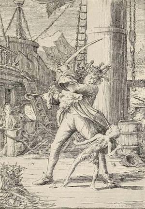 Peter Pan fäktas med sin nemesis Kapten Krok. Illustration av Francis Donkin Bedford från 1912.
