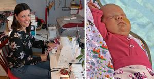 Carina Lundgren är en av sömmerskorna som syr barnkläder i små storlekar till prematuravdelningar. Elva veckor gamla Agnes har fått kläder från det ideella nätverket.
