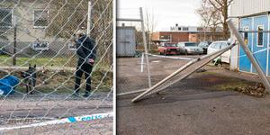 Polisens tekniker kallade in hundpatrull från Västerås som undersökte brottsplatsen.