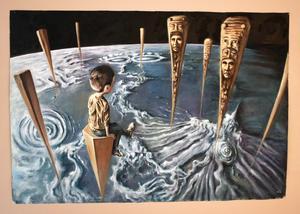 Inti Segura utforskar kroppens utsträckning och seendets perspektiv i sina målningar.
