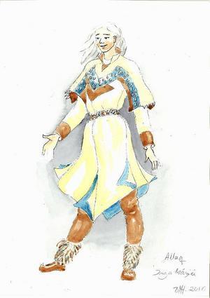 """Kostymskiss till """"Allaq"""".Illustration:Berit  Marit Hætta/Beaivváš"""