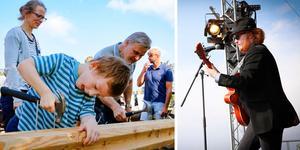 Maximillian (på bilden till höger), från Idol, såg ut som han var med i Blues brothers och sjung covers till publikens glädje. Till vänster syns Emil Hjärtström som var en baddare på att spika. Foto: Lennye OsbeckFoto: Lennye Osbeck