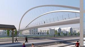 En idé som kommunen har presenterat via Ramboll om hur gc-bron vid tågstationen kan komma att se ut.