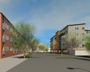 En av gamla byns bilder över hur det kan komma att se ut i framtiden. Men både Näslund och Löfberg poängterar att det är upp till entreprenören att utforma bygget.