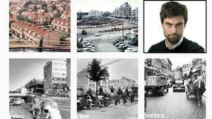 Bilder från Örebro kommuns Instagramkonto Tillbakablick Örebro. Till höger syns kommunikatören Linus Mattisson som kom på idén att starta kontot.