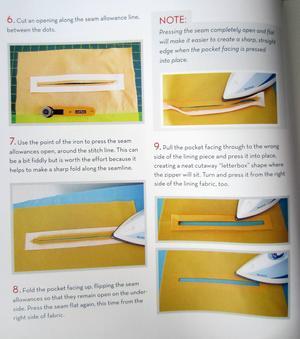 Boken är full med fotografier som tydligt visar hur man gör för att till exempel sy en snygg infodring till blixtlåsfickan i väskfodret.