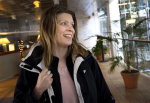 Långväga gäst. Helen Malmberg har rest från Gävle för att testa för ett Mensamedlemskap.