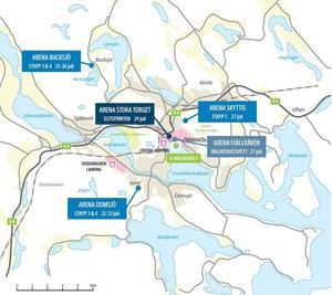 Kartan ger en översikt över var de tre stora etapperna ska vara samt camping med mera. Källa: O-ringen.